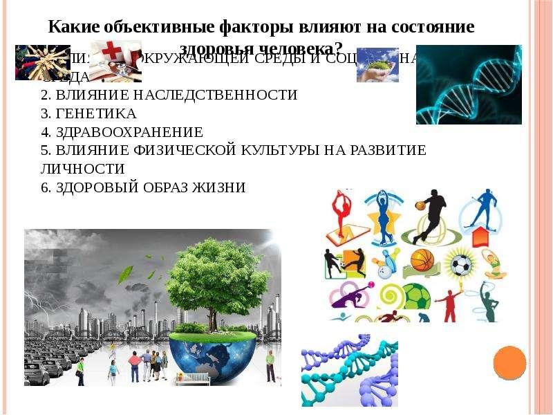 1. Влияние окружающей среды и социальная среда 2. Влияние наследственности 3. Генетика 4. Здравоохра