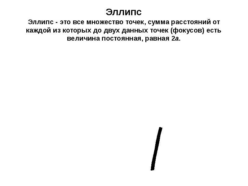 Эллипс Эллипс - это все множество точек, сумма расстояний от каждой из которых до двух данных точек