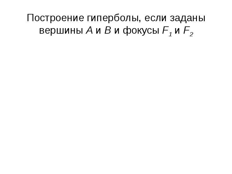 Построение гиперболы, если заданы вершины А и В и фокусы F1 и F2