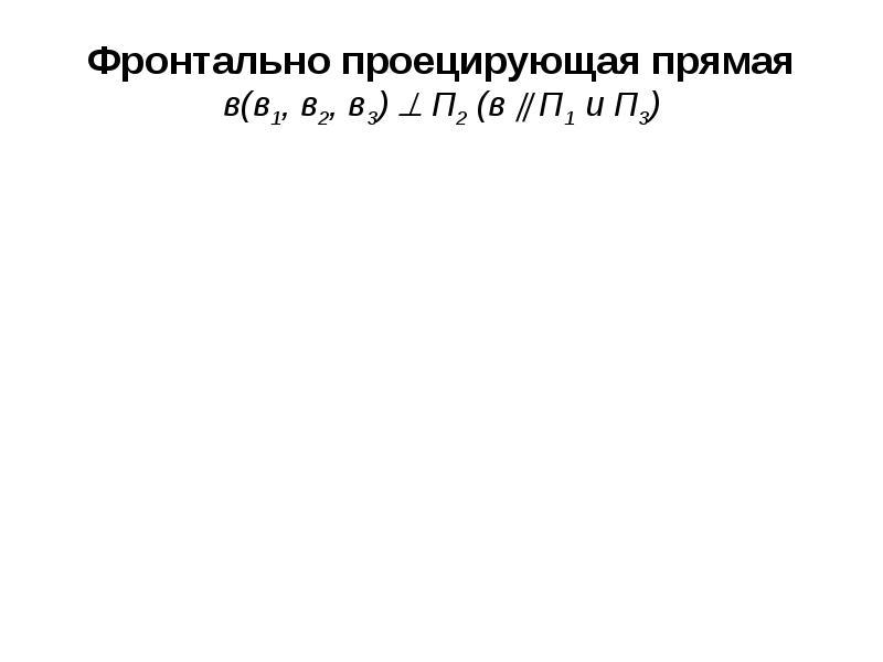 Фронтально проецирующая прямая в(в1, в2, в3)  П2 (в  П1 и П3)