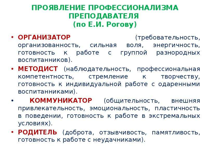 ПРОЯВЛЕНИЕ ПРОФЕССИОНАЛИЗМА ПРЕПОДАВАТЕЛЯ (по Е. И. Рогову) ОРГАНИЗАТОР (требовательность, организов