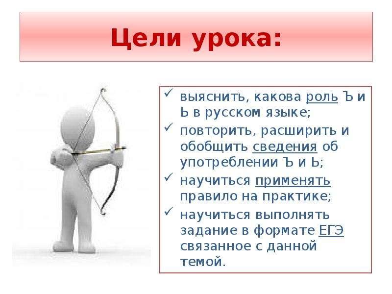 Цели урока: выяснить, какова роль Ъ и Ь в русском языке; повторить, расширить и обобщить сведения об