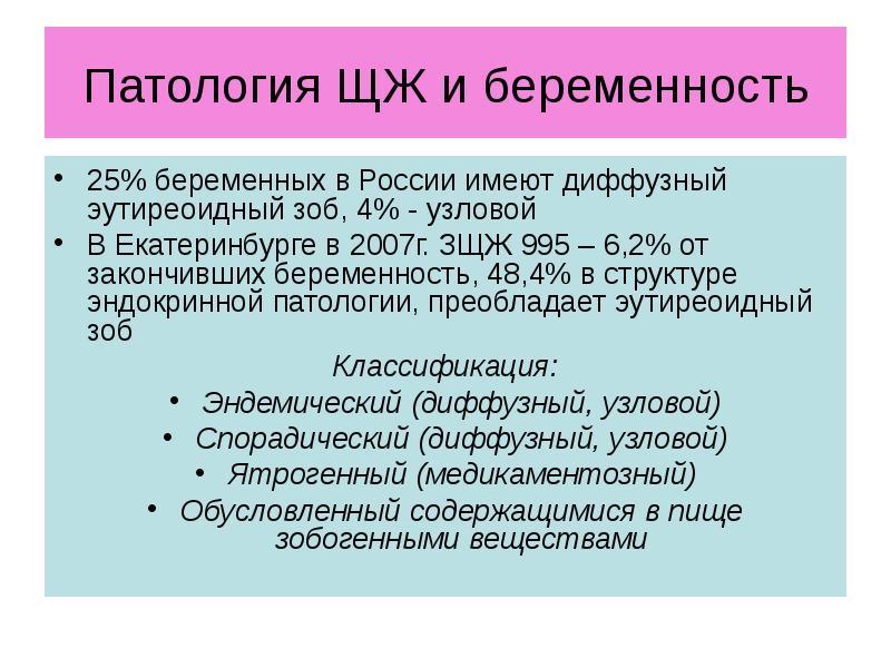 Патология ЩЖ и беременность 25% беременных в России имеют диффузный эутиреоидный зоб, 4% - узловой В