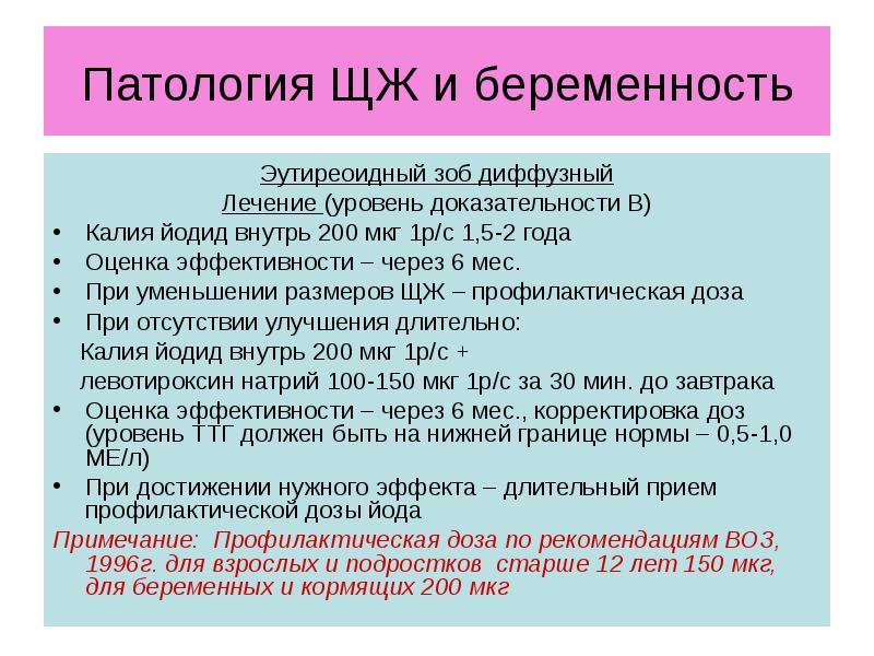 Патология ЩЖ и беременность Эутиреоидный зоб диффузный Лечение (уровень доказательности В) Калия йод