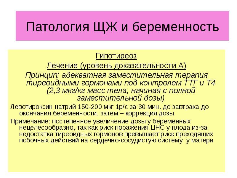 ЩЖ и беременность Гипотиреоз Лечение (уровень доказательности А) Принцип: адекватная заместительная
