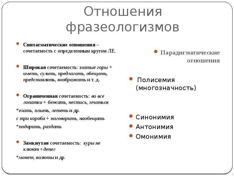 Отношения фразеологизмов Синтагматические отношения – сочетаемость с определенным кругом ЛЕ. Широкая