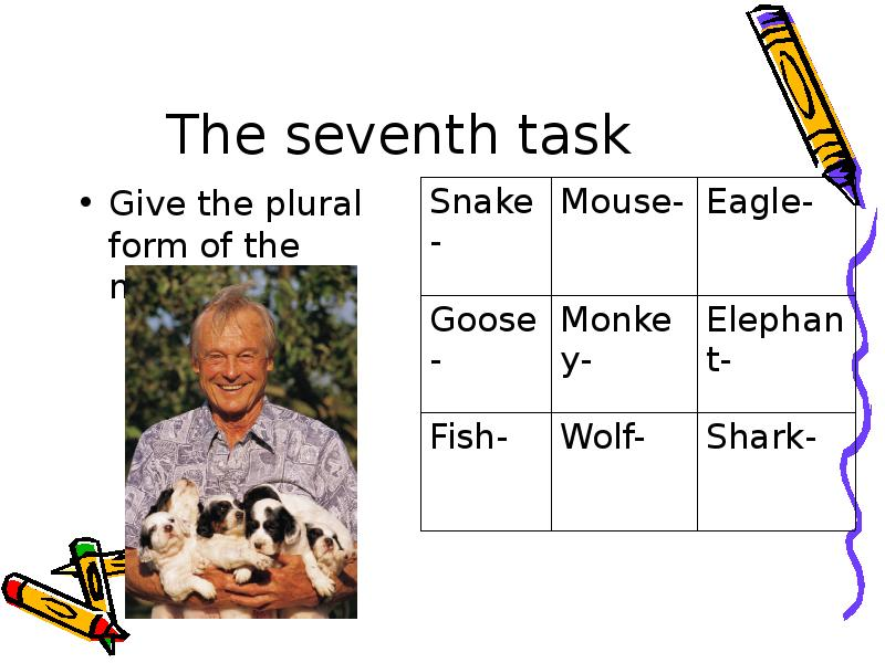 The seventh task Give the plural form of the nouns.