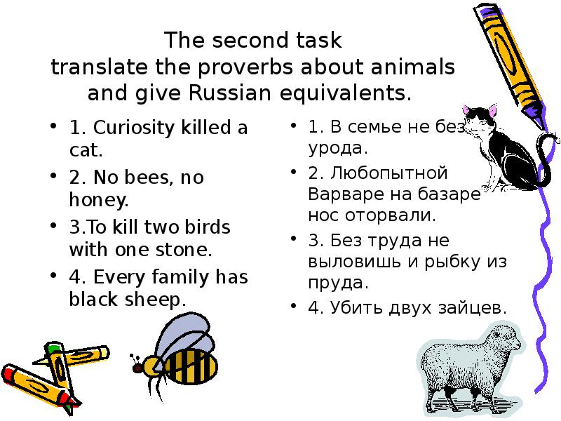 The second task translate the proverbs about animals and give Russian equivalents. 1. Curiosity kill