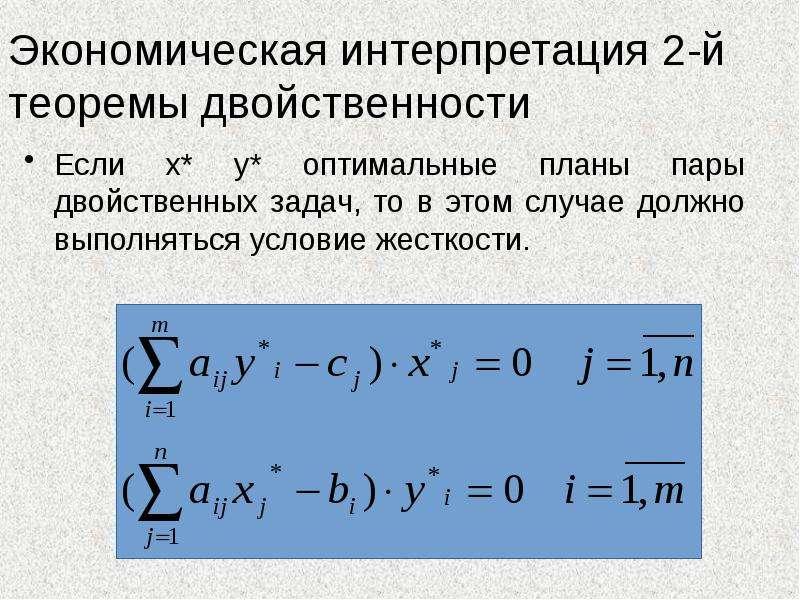 Экономическая интерпретация 2-й теоремы двойственности Если x* y* оптимальные планы пары двойственны
