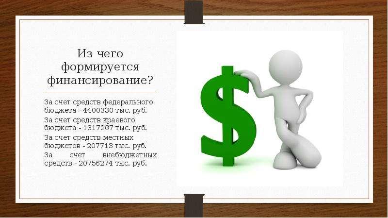 Из чего формируется финансирование? За счет средств федерального бюджета - 4400330 тыс. руб. За счет