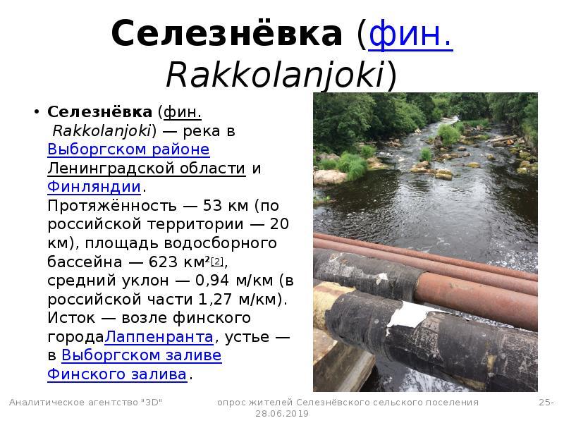 Селезнёвка (фин. Rakkolanjoki) Селезнёвка (фин. Rakkolanjoki) — река в Выборгском районе Ленинградск