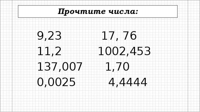 Прочтите числа: 9,23 17, 76 11,2 1002,453 137,007 1,70 0,0025 4,4444