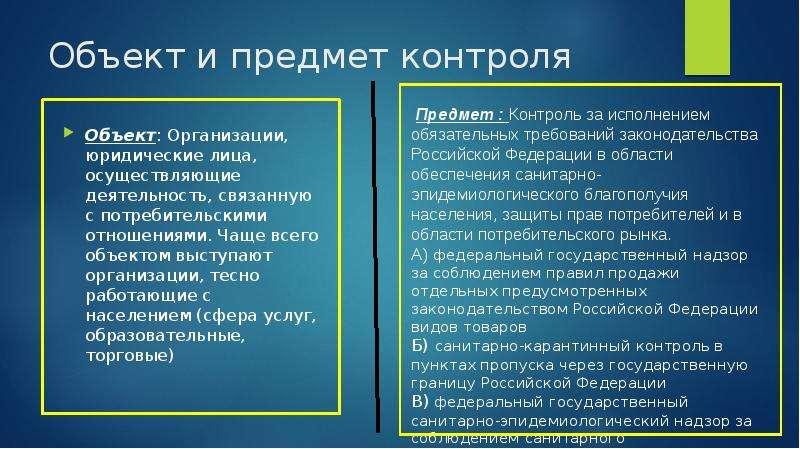 Объект и предмет контроля Объект: Организации, юридические лица, осуществляющие деятельность, связан
