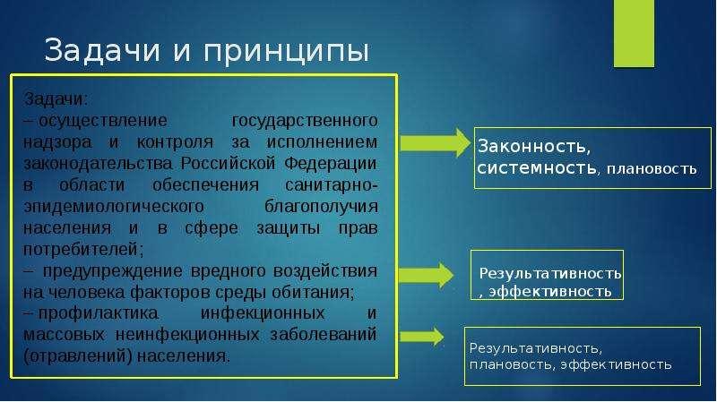 Задачи и принципы Задачи: – осуществление государственного надзора и контроля за исполнением законод
