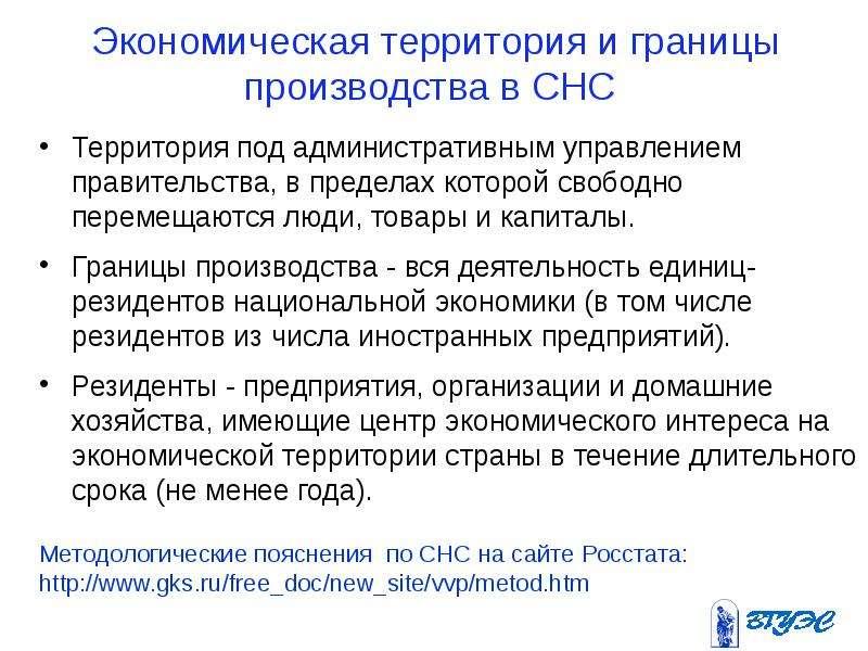 Экономическая территория и границы производства в СНС Территория под административным управлением пр