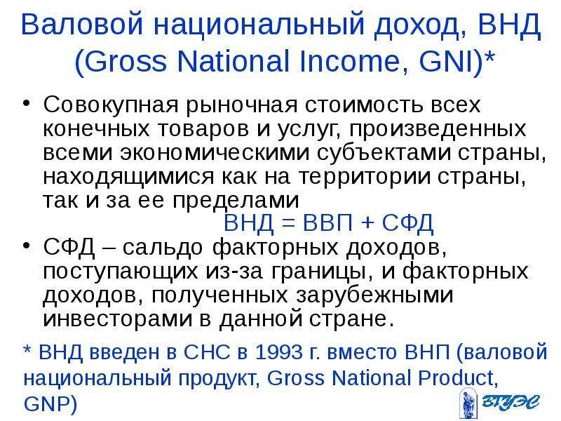 Валовой национальный доход, ВНД (Gross National Income, GNI)* Cовокупная рыночная стоимость всех кон