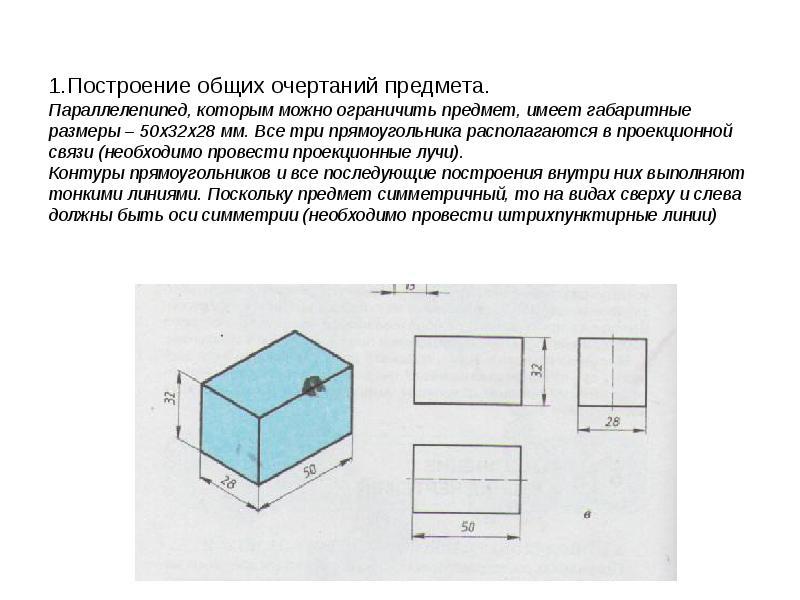 1. Построение общих очертаний предмета. Параллелепипед, которым можно ограничить предмет, имеет габа