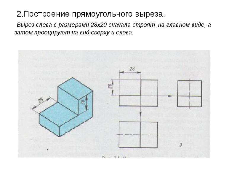 2. Построение прямоугольного выреза. Вырез слева с размерами 28х20 сначала строят на главном виде, а