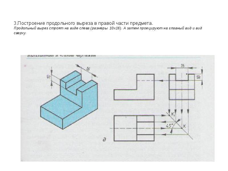 3. Построение продольного выреза в правой части предмета. Продольный вырез строят на виде слева (раз
