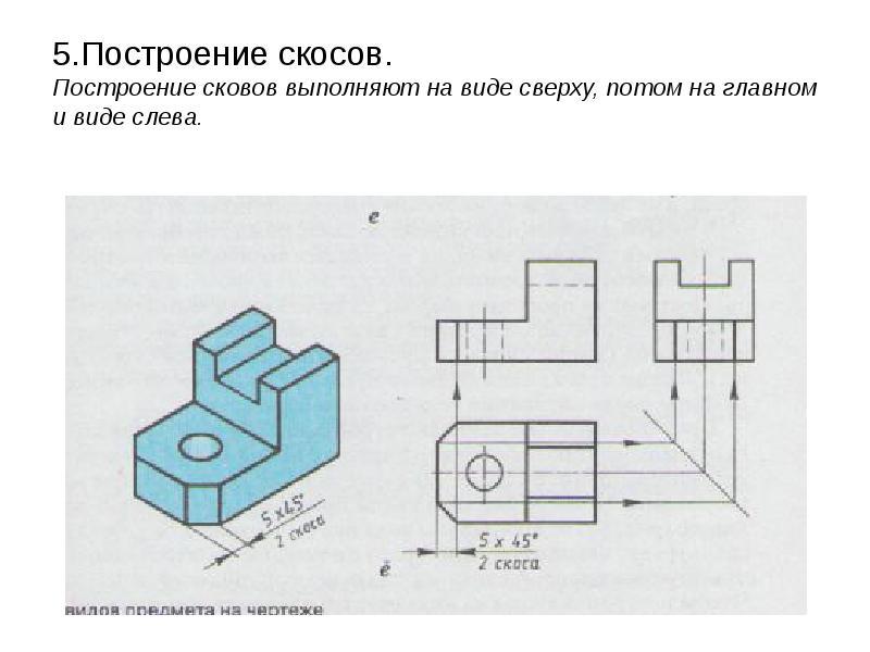 5. Построение скосов. Построение сковов выполняют на виде сверху, потом на главном и виде слева.