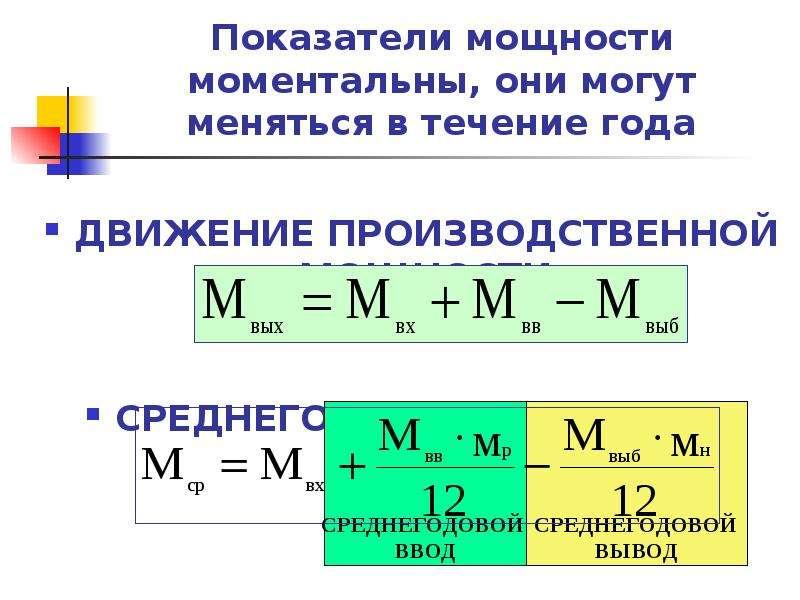 Показатели мощности моментальны, они могут меняться в течение года ДВИЖЕНИЕ ПРОИЗВОДСТВЕННОЙ МОЩНОСТ