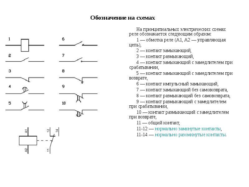 Обозначение на схемах На принципиальных электрических схемах реле обозначается следующим образом: 1