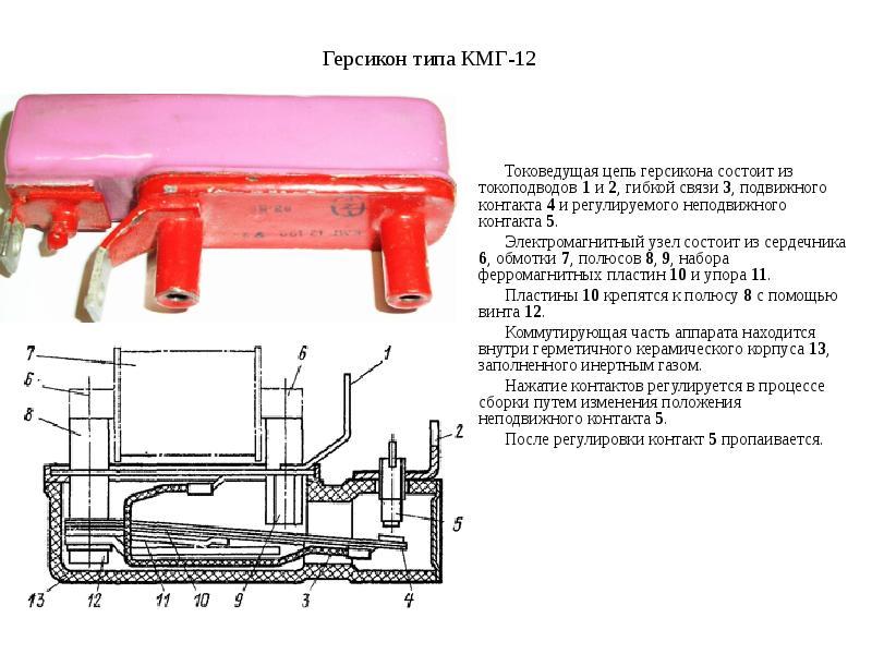 Герсикон типа КМГ-12 Токоведущая цепь герсикона состоит из токоподводов 1 и 2, гибкой связи 3, подви