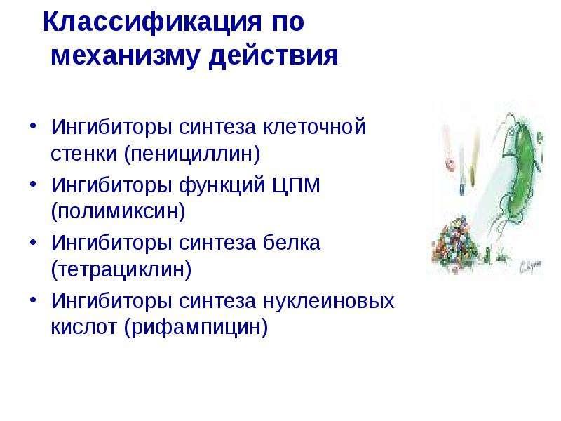 Классификация по механизму действия Классификация по механизму действия Ингибиторы синтеза клеточной