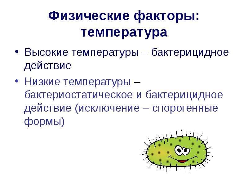 Физические факторы: температура Высокие температуры – бактерицидное действие Низкие температуры – ба