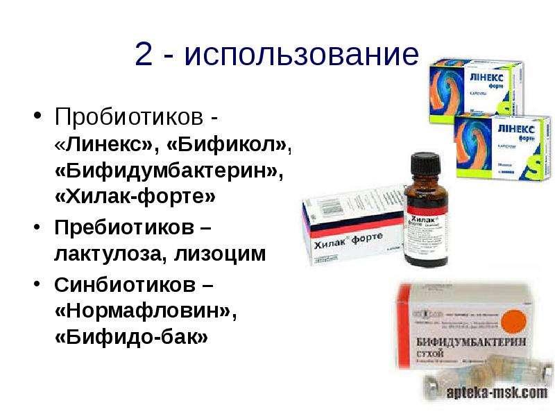 2 - использование Пробиотиков - «Линекс», «Бификол», «Бифидумбактерин», «Хилак-форте» Пребиотиков –