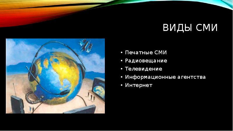 Виды сми Печатные СМИ Радиовещание Телевидение Информационные агентства Интернет