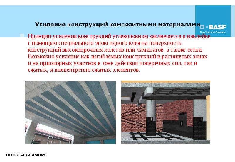Принцип усиления конструкций углеволокном заключается в наклейке с помощью специального эпоксидного