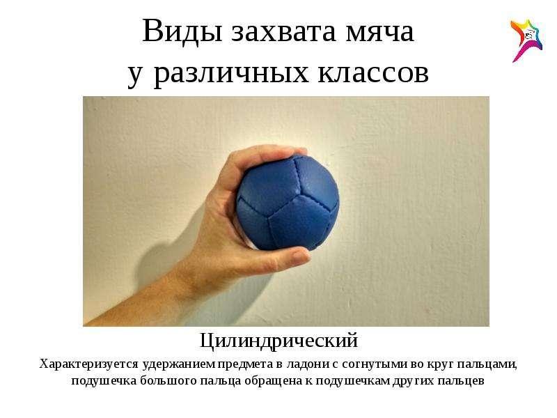 Виды захвата мяча у различных классов Цилиндрический Характеризуется удержанием предмета в ладони с