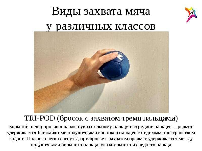 Виды захвата мяча у различных классов TRI-POD (бросок с захватом тремя пальцами) Большой палец проти