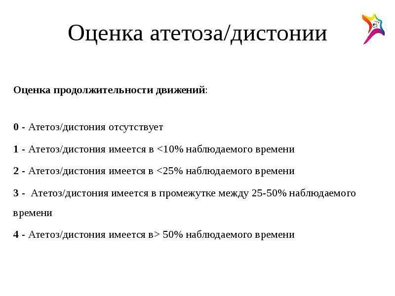 Оценка атетоза/дистонии Оценка продолжительности движений: 0 - Атетоз/дистония отсутствует 1 - Атето
