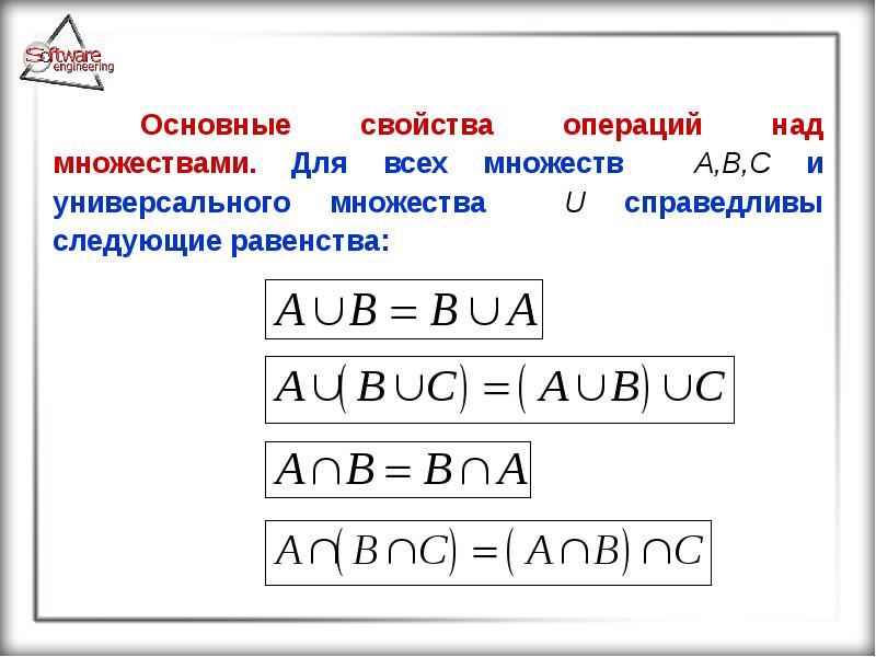 Основные свойства операций над множествами. Для всех множеств A,B,С и универсального множества U спр