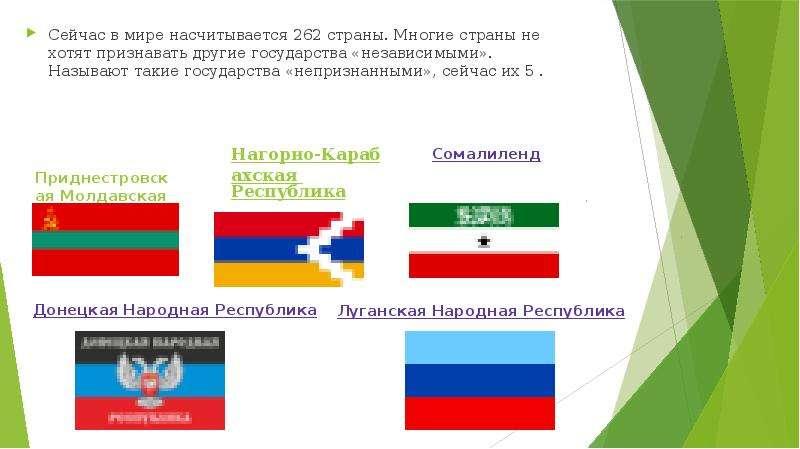 Нагорно-Карабахская Республика Сейчас в мире насчитывается 262 страны. Многие страны не хотят призна