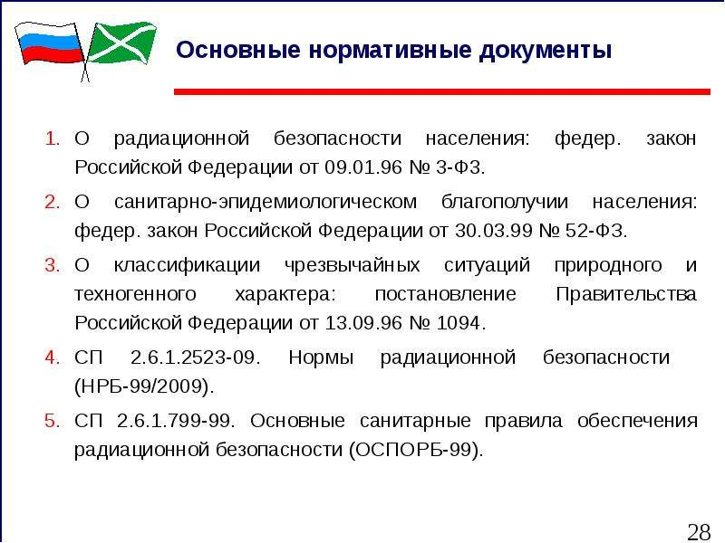 Основные нормативные документы О радиационной безопасности населения: федер. закон Российской Федера