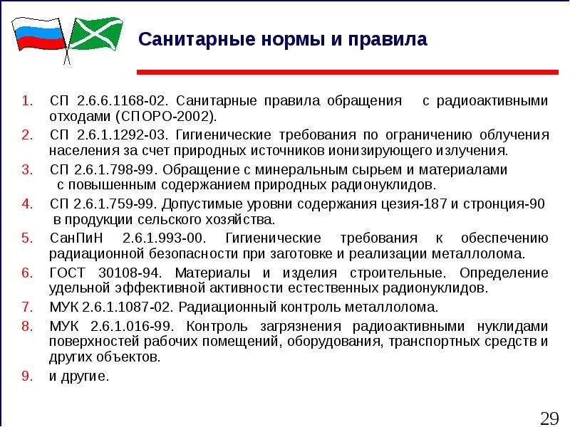 Санитарные нормы и правила СП 2. 6. 6. 1168-02. Санитарные правила обращения с радиоактивными отхода