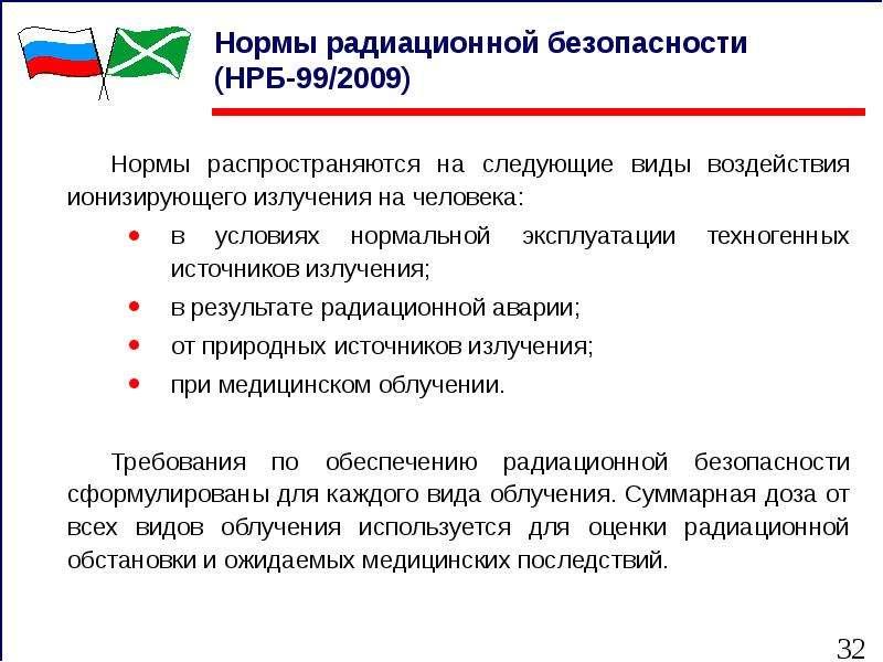 Нормы радиационной безопасности (НРБ-99/2009) Нормы распространяются на следующие виды воздействия и