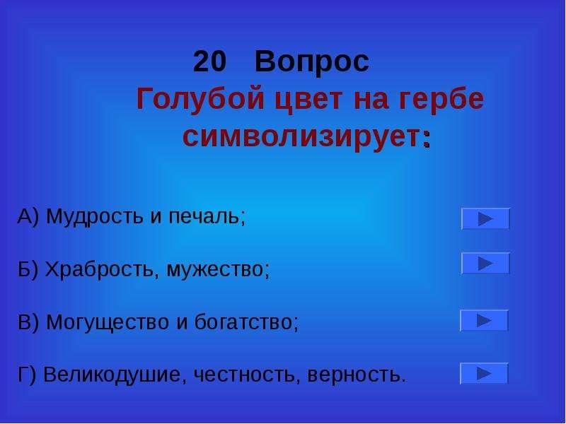 20 Вопрос Голубой цвет на гербе символизирует: