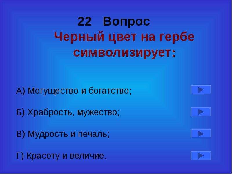 22 Вопрос Черный цвет на гербе символизирует: