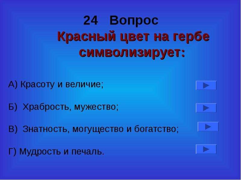 24 Вопрос Красный цвет на гербе символизирует: