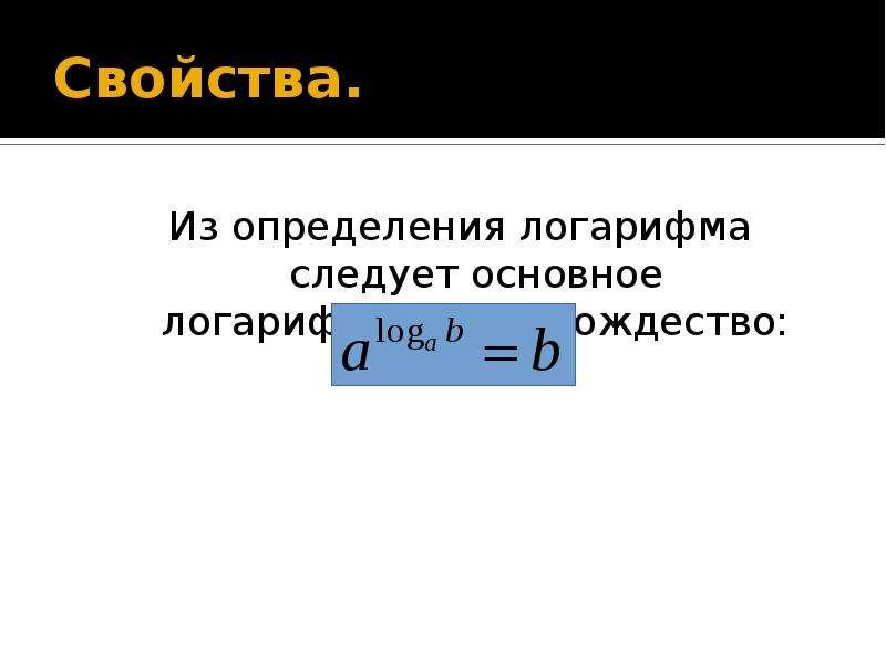 Свойства. Из определения логарифма следует основное логарифмическое тождество: