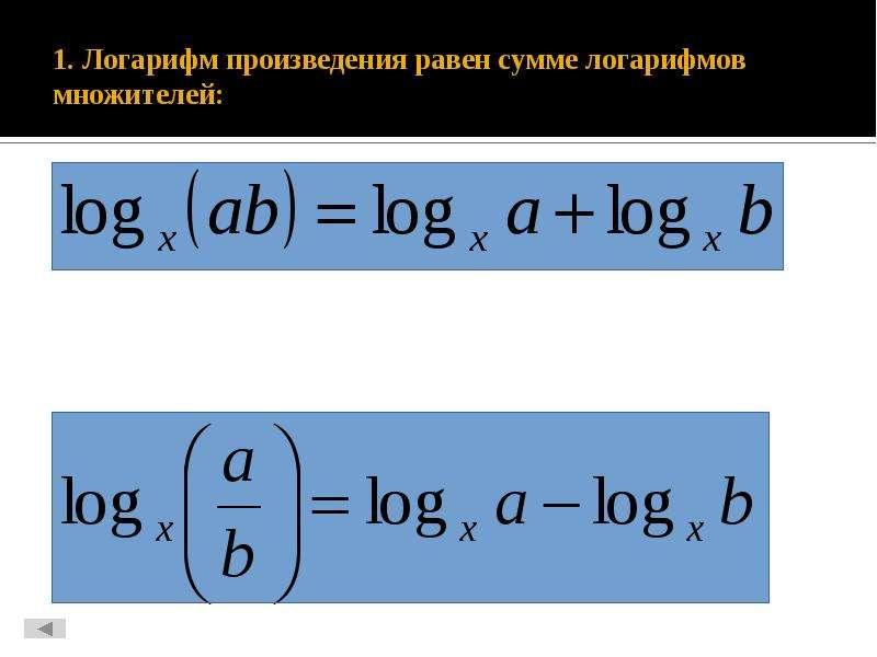 1. Логарифм произведения равен сумме логарифмов множителей: