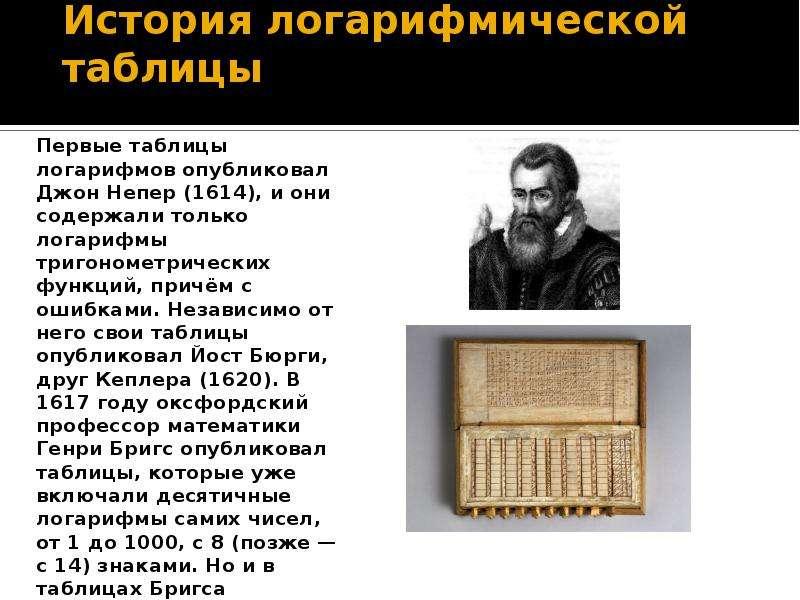 История логарифмической таблицы Первые таблицы логарифмов опубликовал Джон Непер (1614), и они содер