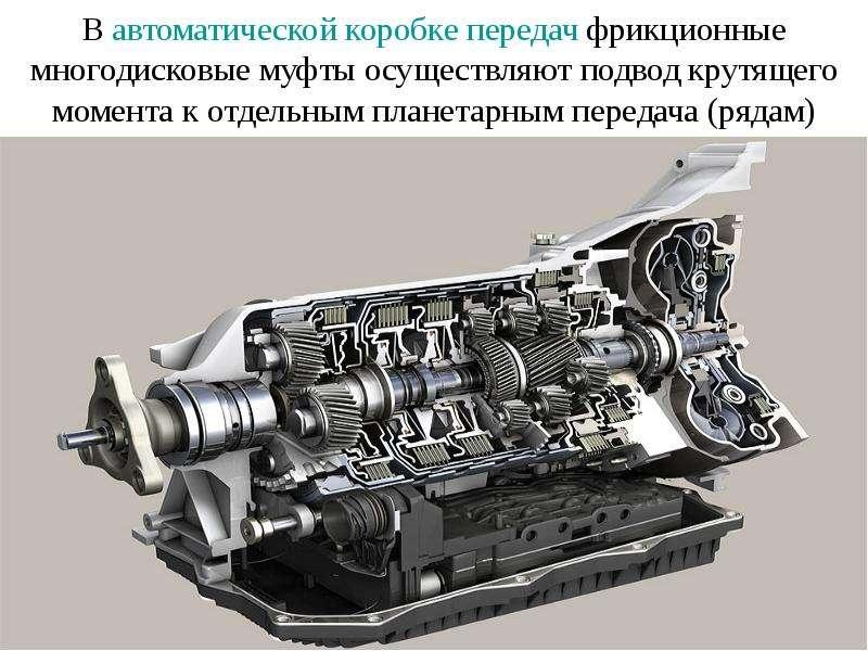 В автоматической коробке передач фрикционные многодисковые муфты осуществляют подвод крутящего момен