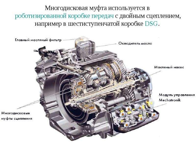 Многодисковая муфта используется в роботизированной коробке передач с двойным сцеплением, например в