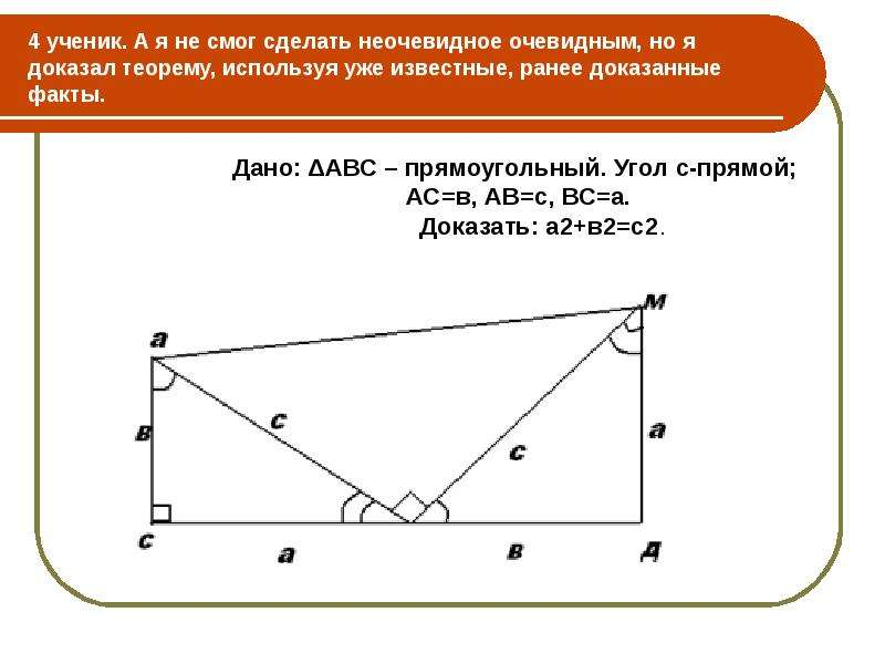 4 ученик. А я не смог сделать неочевидное очевидным, но я доказал теорему, используя уже известные,