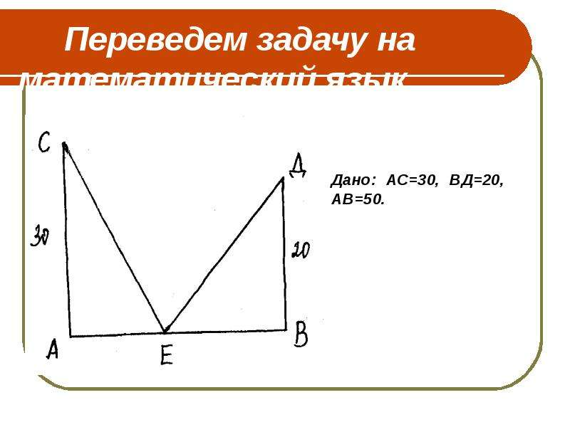 Переведем задачу на математический язык